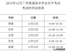 201512月广西会考考试时间安排表