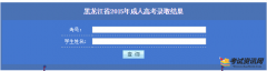 2016年黑龙江省成人高考录取结果查询入口:http://www