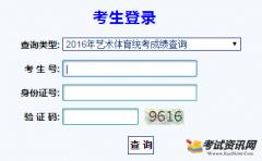 2016年甘肃美术统考成绩查询入口:htt