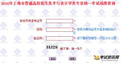 2016年上海美术统考成绩查询入口:htt