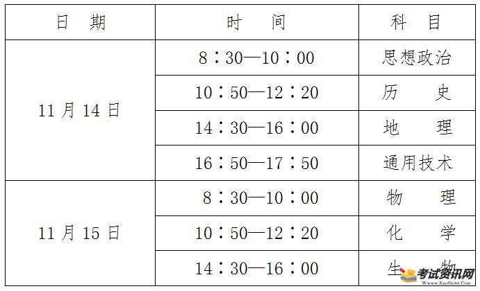 2020年下半年陕西省普通高中学业水平考试将于11月14日至15日进行