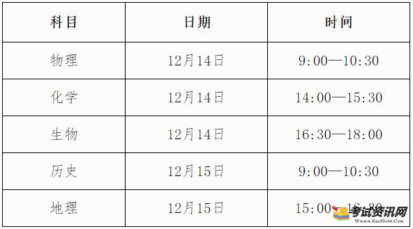 2021年下半年广西柳州普通高中学业水平考试时间表
